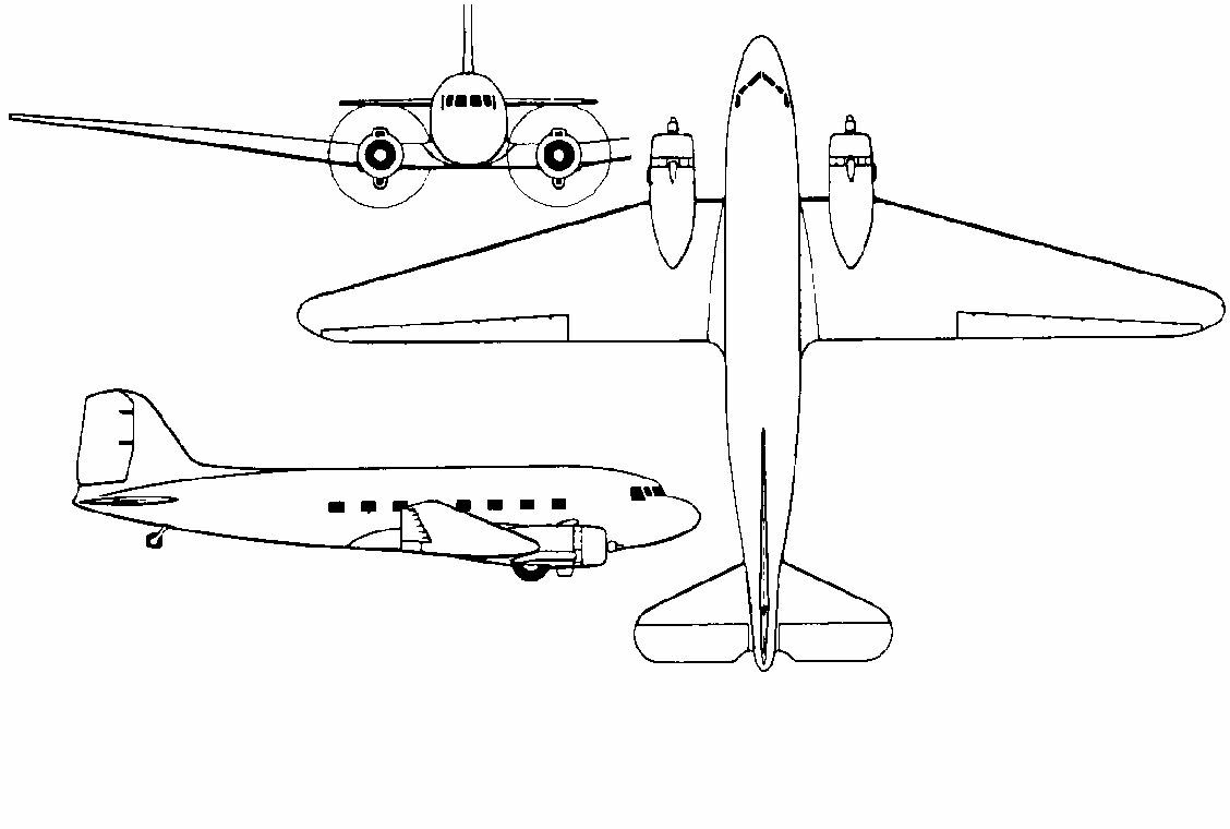3 view drawings for a douglas dc 3 3 views dc 3 malvernweather Choice Image