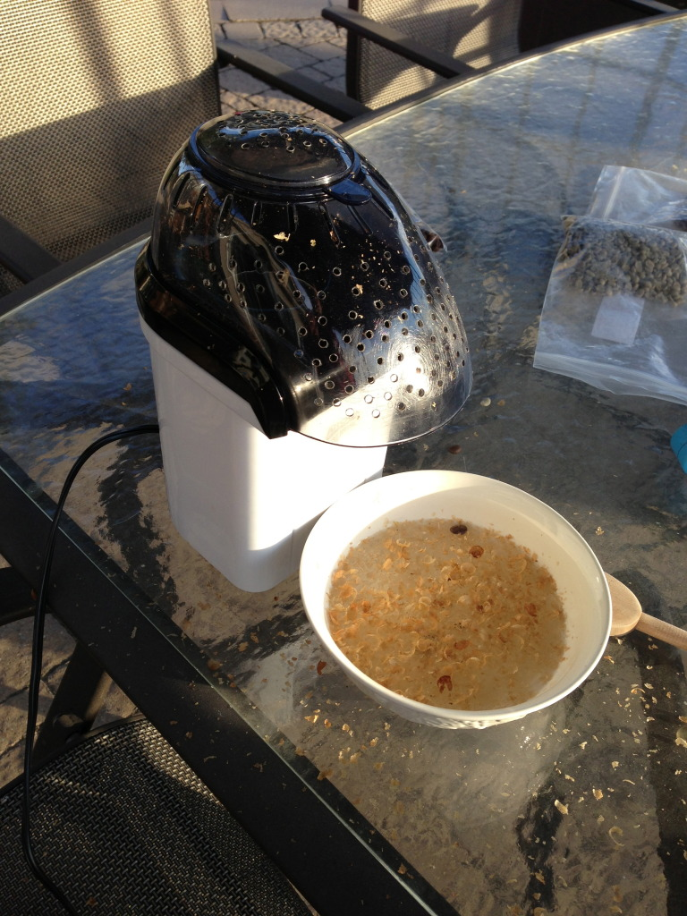 hot air popper roasting coffee